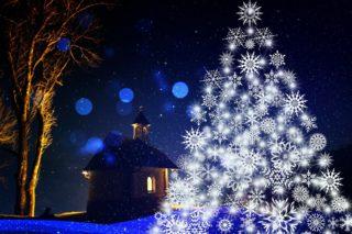 Boże Narodzenie, kościół, choinka